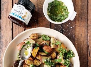 Roast Eggplant & Sweet Potato Salad with Manuka Honey & Ginger Dressing